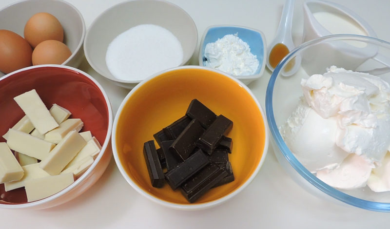 Ingredientes para la tarta de queso doble chocolate