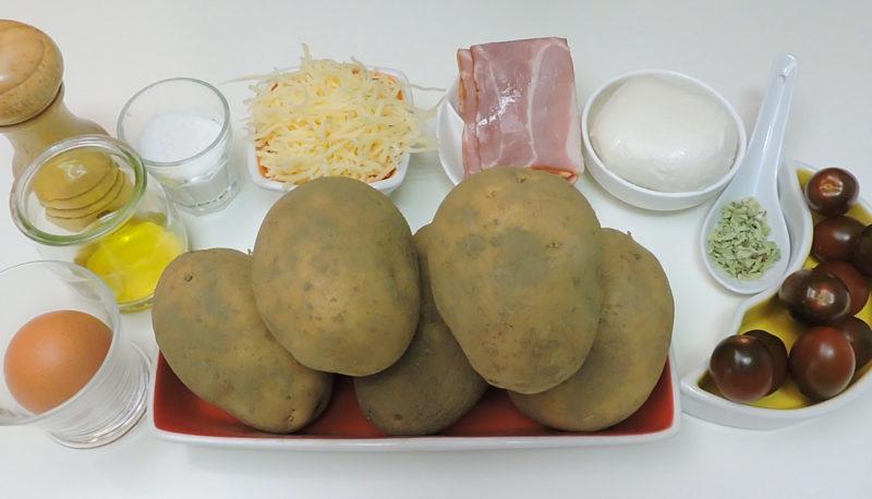 Ingredientes para la pizza con base de patata