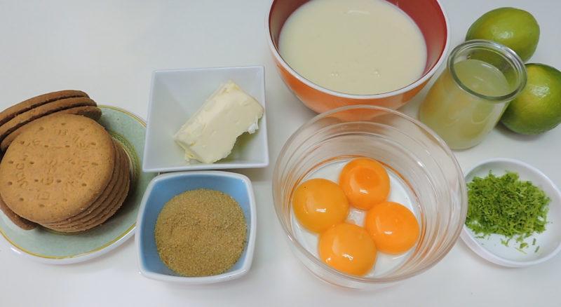 Ingredientes para el pastel de lima