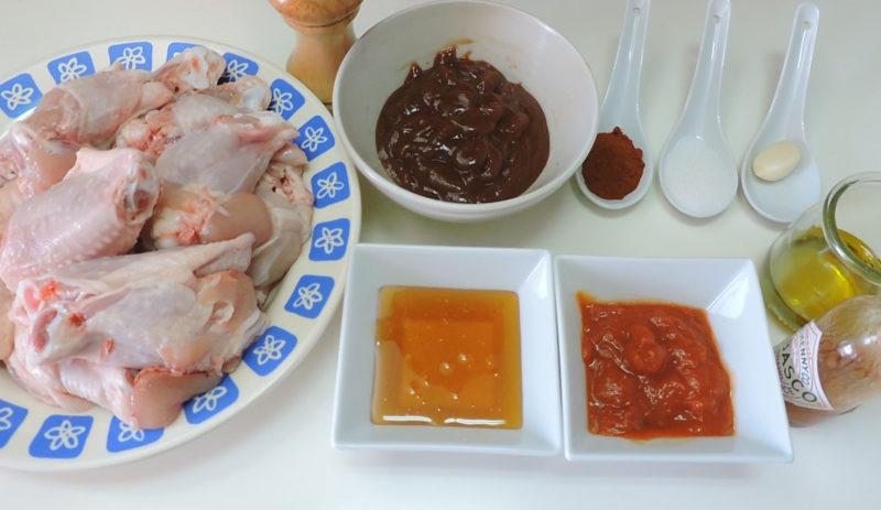 Ingredientes para las alitas de pollo a la barbacoa