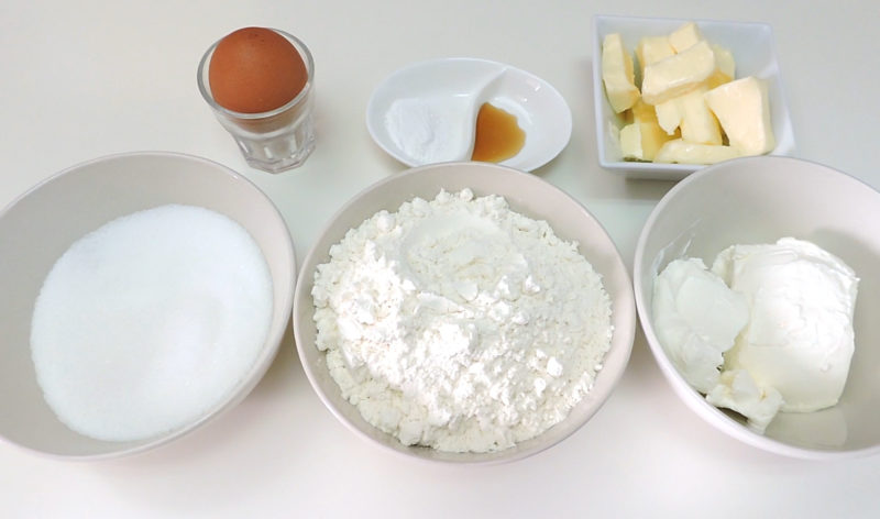 Ingredientes para las galletas abizcochadas de tarta de queso