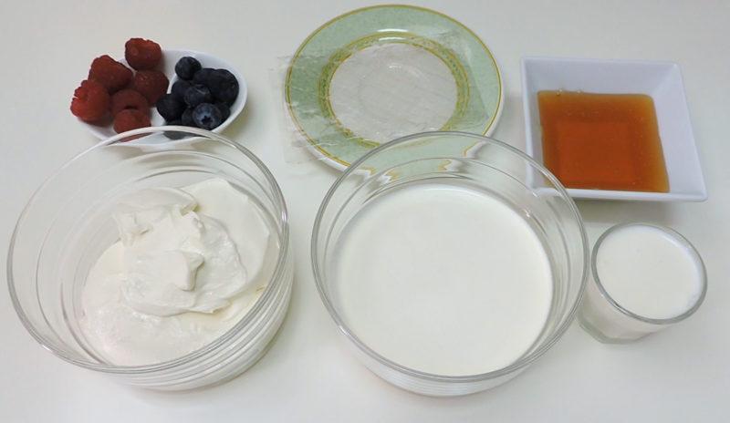 Ingredientes para la panacota de queso y miel