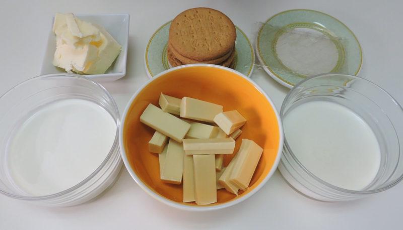 Ingredientes para la mousse de chocolate blanco y para la base de la tarta