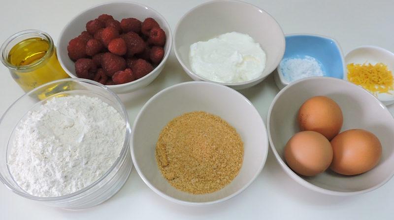 Ingredientes para el pastel de frambuesas