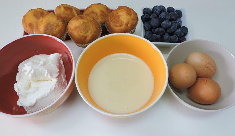 Ingredientes para el pastel de queso con arándanos