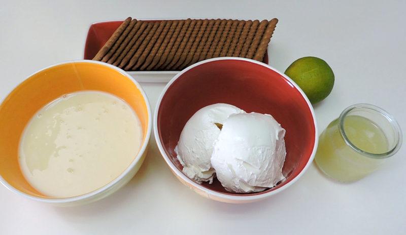 Ingredientes para la tarta de galletas con crema de lima