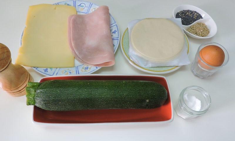 Ingredientes para las empanadillas de calabacín, jamón y queso