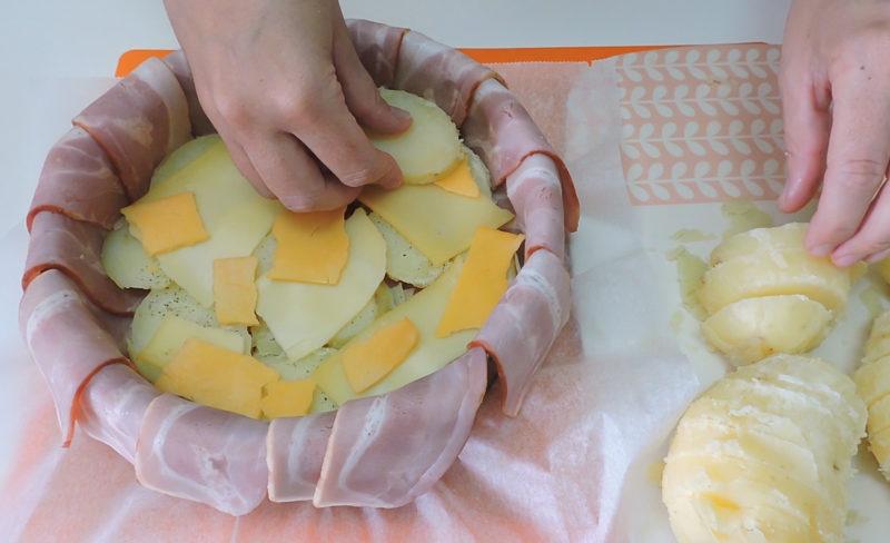 Montando el pastel de patata