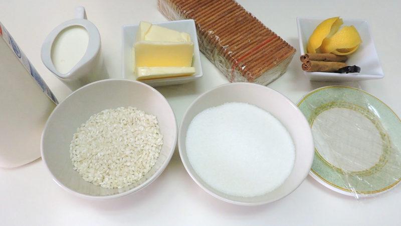 Ingredientes para la tarta de arroz con leche