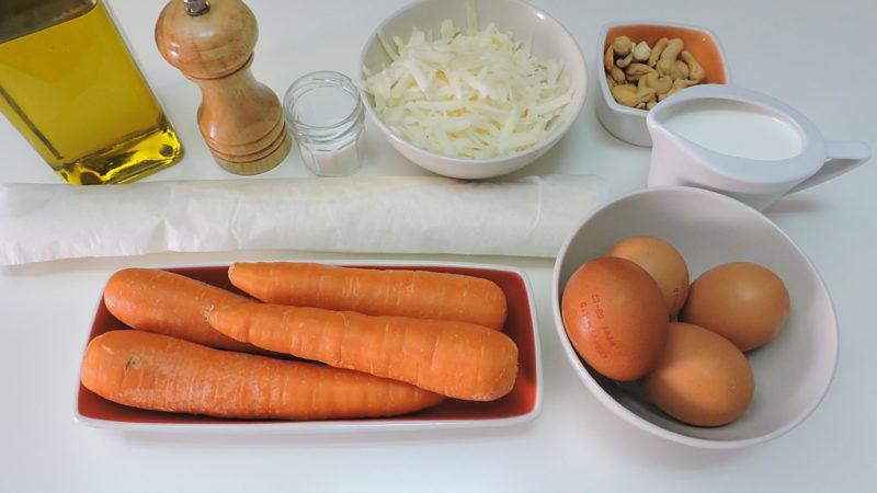 Ingredientes para la tarta de zanahoria