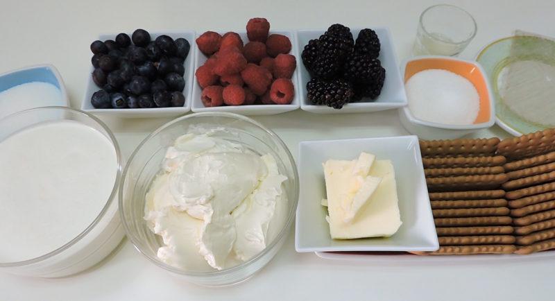 Ingredientes para la tarta de queso con frutos rojos