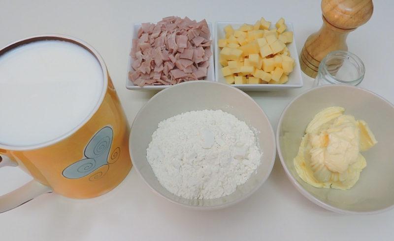 Ingredientes para las croquetas de jamón y queso