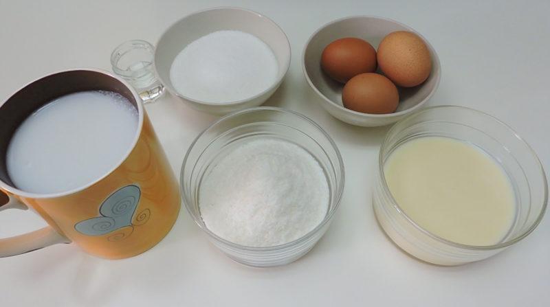 Ingredientes para el flan de coco