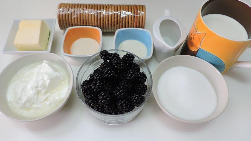 Ingredientes para la tarta de yogur y moras