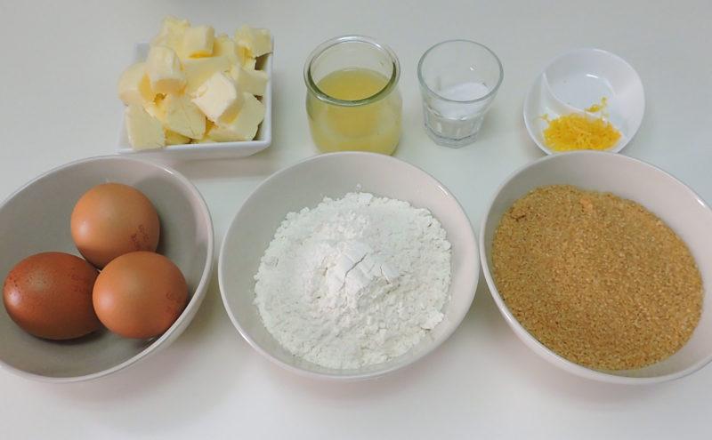 Ingredientes para el brownie de limón