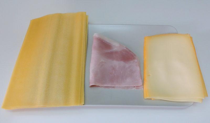 Ingredientes para la lasaña de jamón y queso