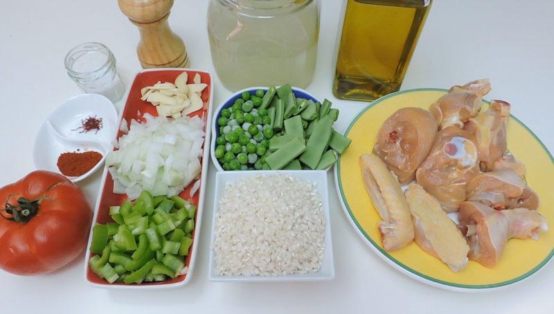 Ingredientes para la paella de pollo