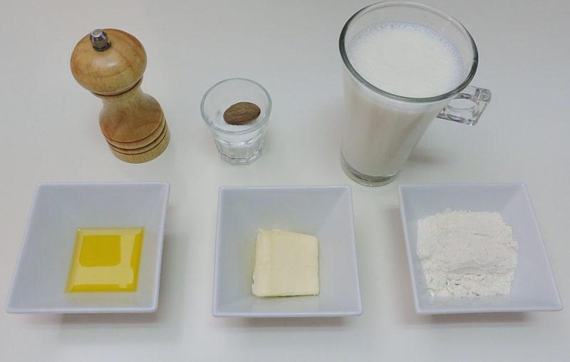 Ingredientes para la salsa bechamel