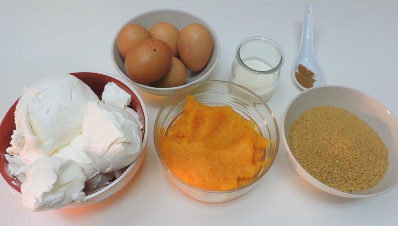 Ingredientes para la tarta de queso y calabaza