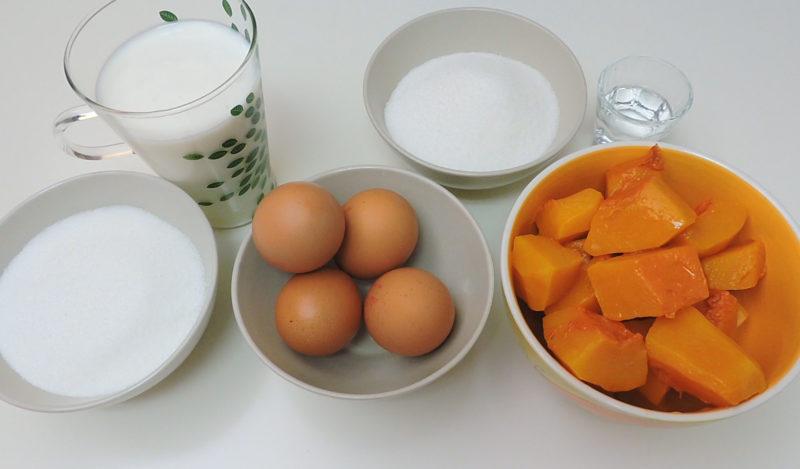 Ingredientes para el flan de calabaza y el caramelo casero