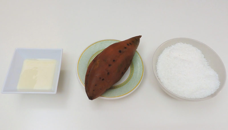Ingredientes para las bolitas de coco y boniato