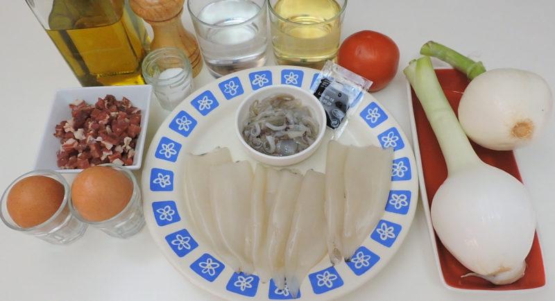 Ingredientes para los chipirones rellenos
