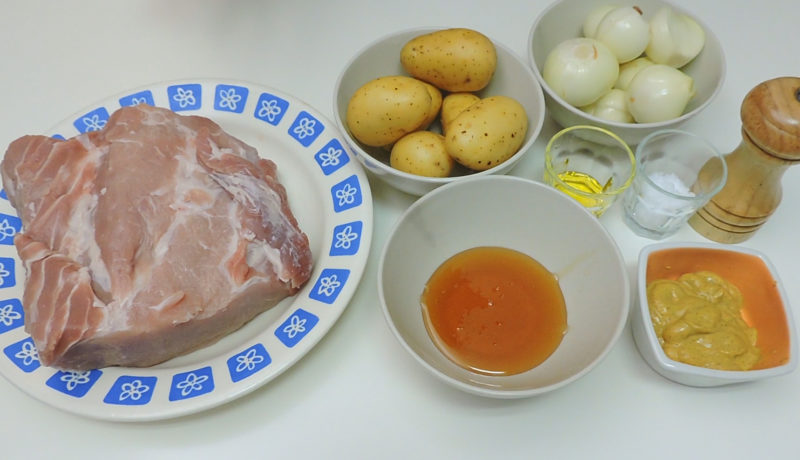 Ingredientes para el lomo asado con miel y mostaza