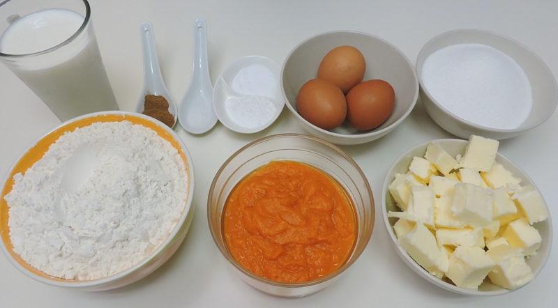 Ingredientes para el bizcocho de calabaza