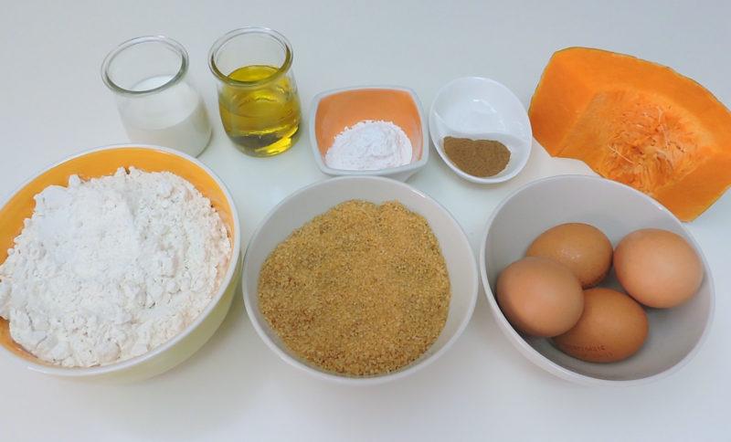 Ingredientes para las magdalenas de calabaza