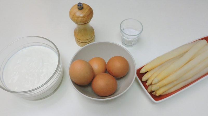 Ingredientes para el flan de espárragos blancos