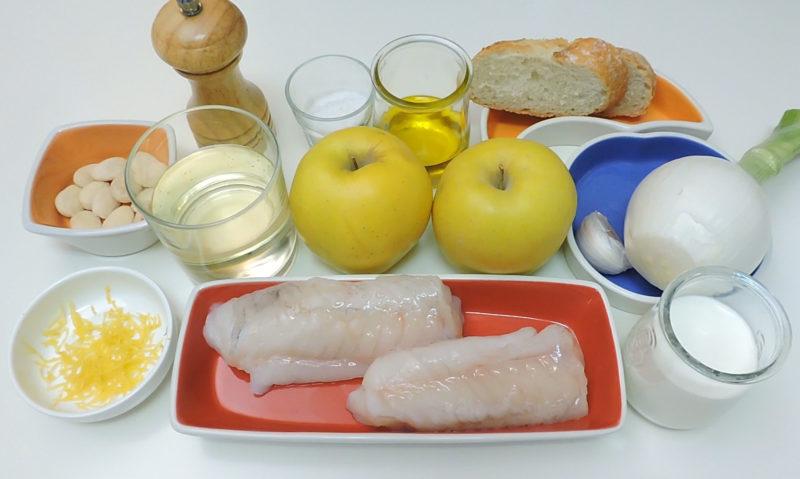 Ingredientes para el rape crujiente con salsa de manzana