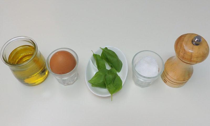 Ingredientes para la mayonesa de albahaca
