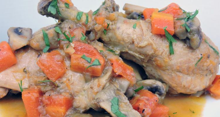 Mi receta de pollo guisado con cerveza y verduras
