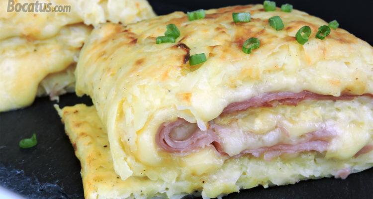 Rollo de patata relleno de queso y jamón