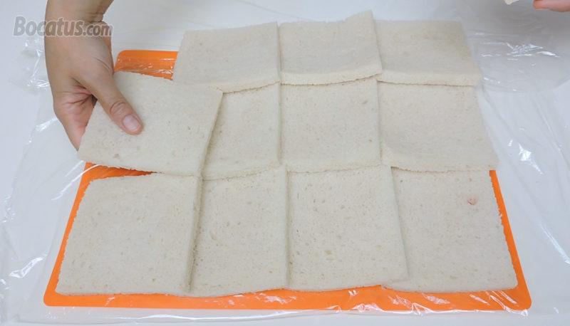 Formando un rectángulo con las rebanadas de pan