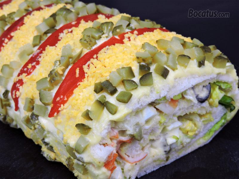 Rollo salado de pan de molde