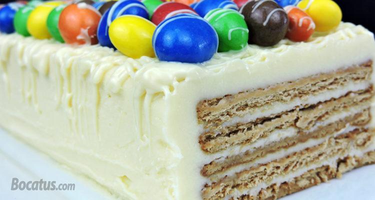 Tarta de galletas con chocolate blanco