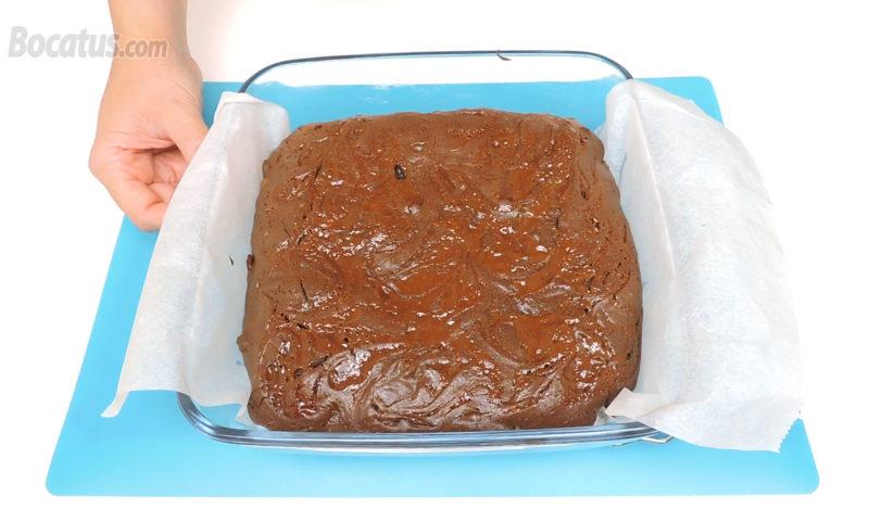 Brownie recién horneado