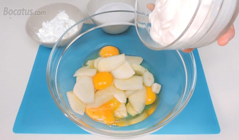 Preparando la mezcla de la tarta