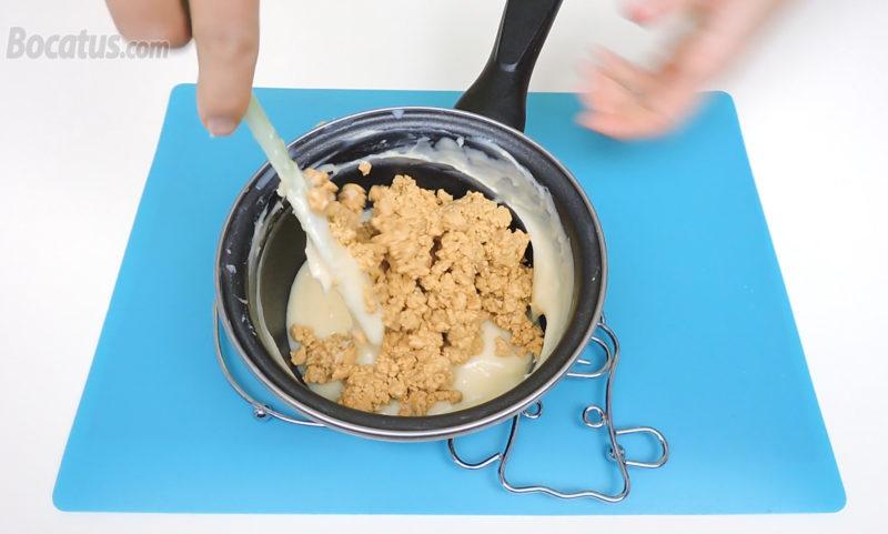 Integrando el turrón en la crema pastelera