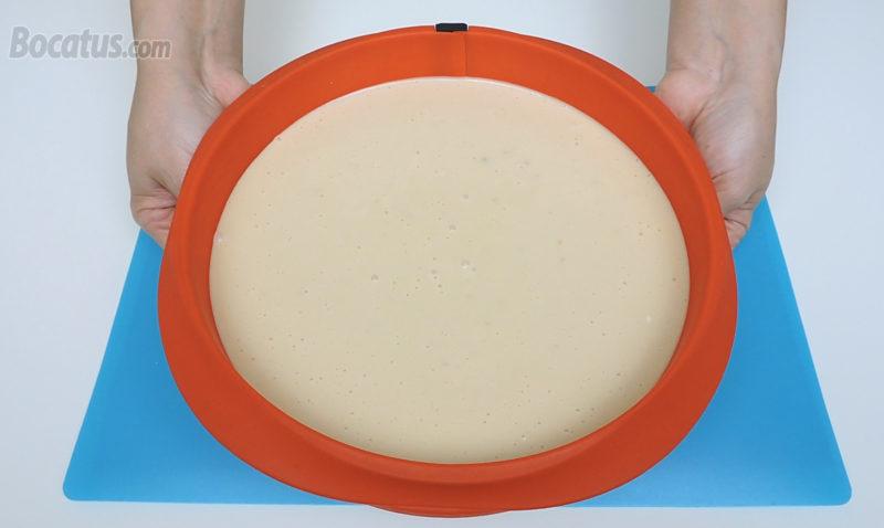 Tarta de queso y turrón antes de hornear