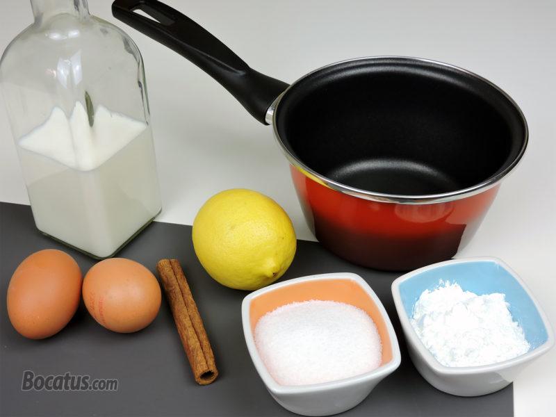 Todo preparado para elaborar la crema pastelera
