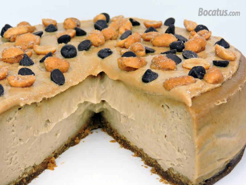 Interior de nuestra tarta de queso con crema de cacahuete