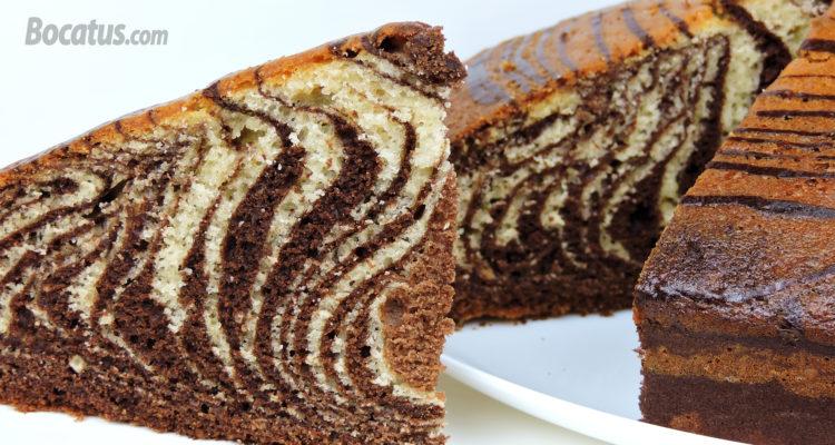 Bizcocho Cebra de chocolate y vainilla (bizcocho marmolado)