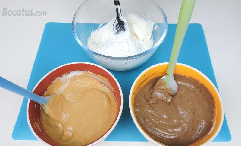 Mezclas de queso con Nutella, dulce de leche y azúcar glas