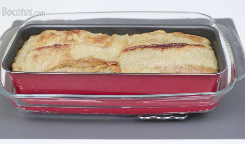 Pudin de horchata y fartons recién horneado