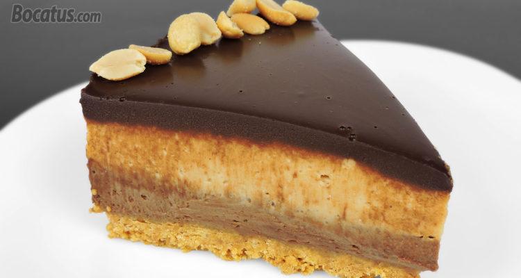 Tarta de queso con chocolate y crema de cacahuete