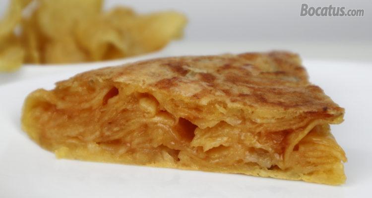 Tortilla de patatas rápida ¡¡con patatas fritas de bolsa!!