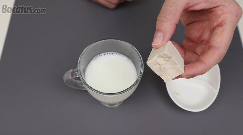 Levadura fresca y leche