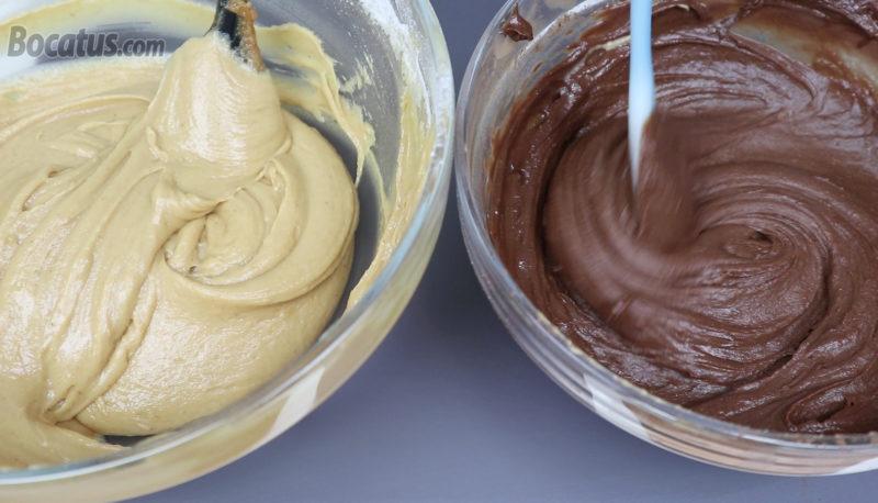 Masa de cacahuete y masa de chocolate